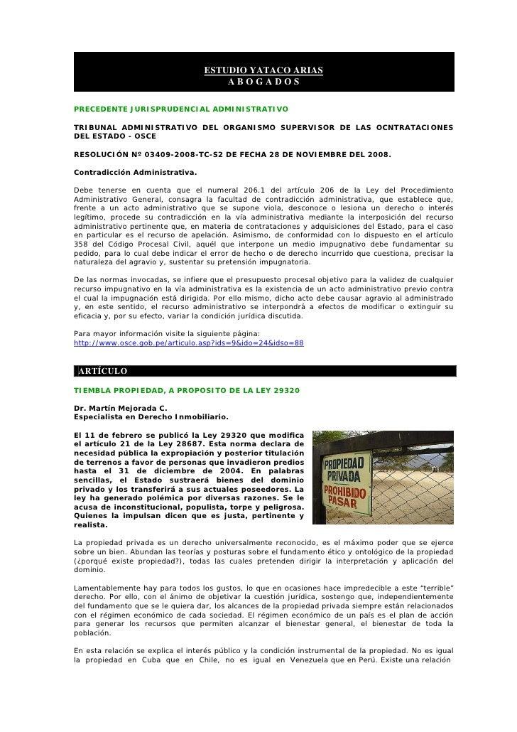 ESTUDIO YATACO ARIAS                                        ABOGADOS  PRECEDENTE JURISPRUDENCIAL ADMINISTRATIVO  TRIBUNAL ...