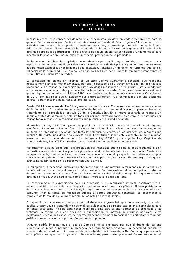 ESTUDIO YATACO ARIAS                                        ABOGADOS  necesaria entre los alcances del dominio y el mecani...