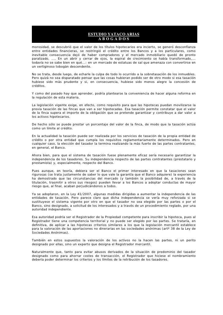 ESTUDIO YATACO ARIAS                                        ABOGADOS morosidad, se descubrió que el valor de los títulos h...