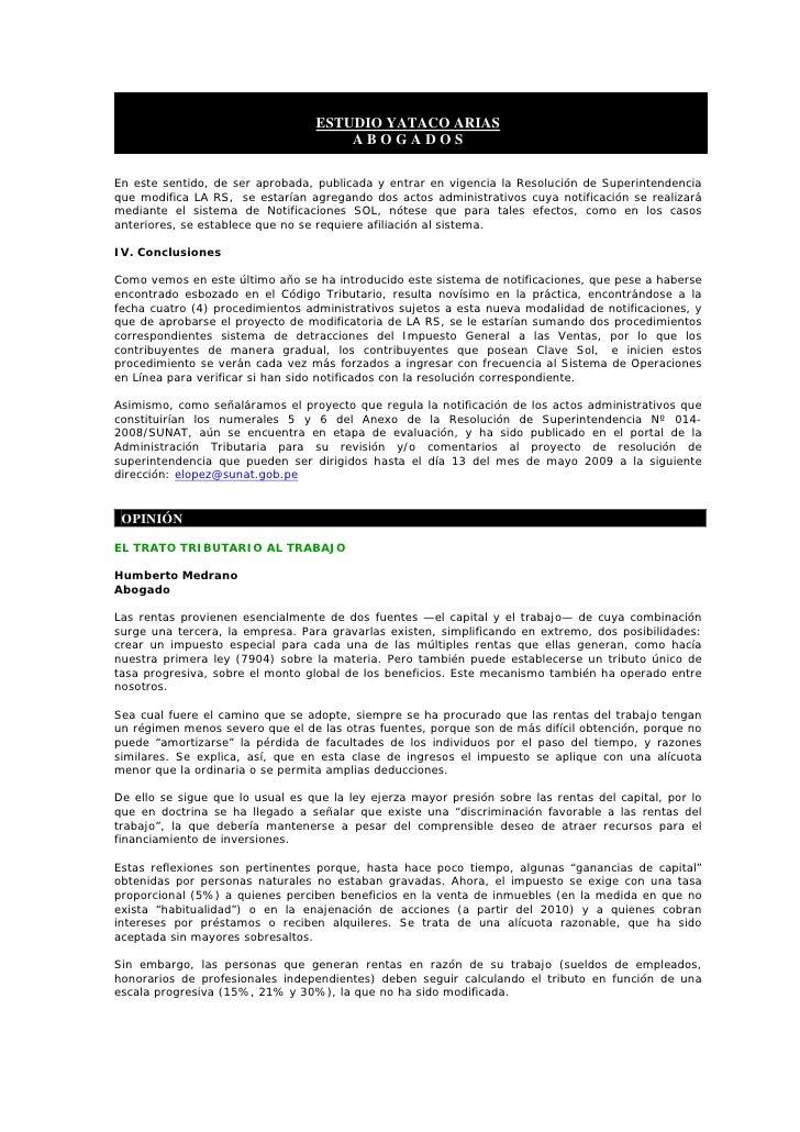 ESTUDIO YATACO ARIAS                                       ABOGADOS  En este sentido, de ser aprobada, publicada y entrar ...