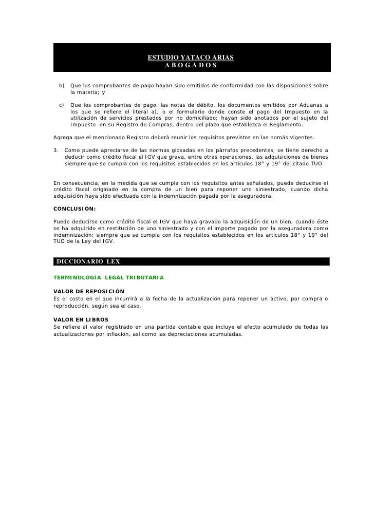 ESTUDIO YATACO ARIAS                                             ABOGADOS       b)     Que los comprobantes de pago hayan ...