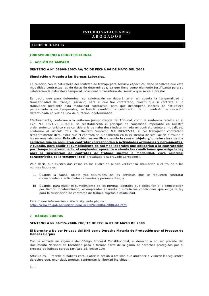 ESTUDIO YATACO ARIAS                                        ABOGADOS   JURISPRUDENCIA  JURISPRUDENCIA CONSTITUCIONAL      ...