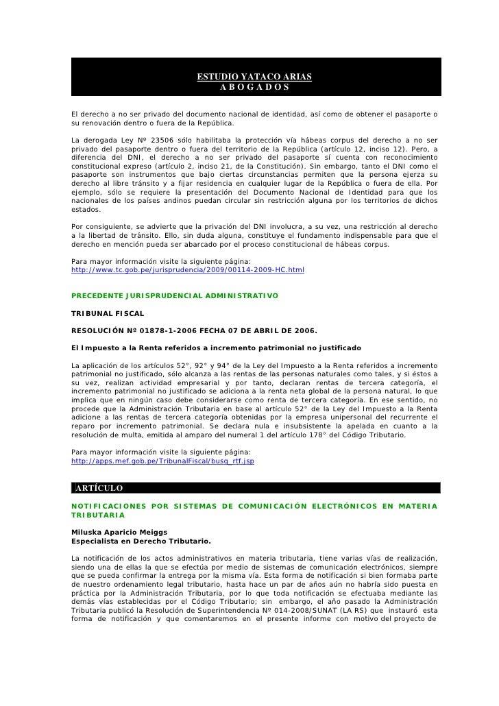 ESTUDIO YATACO ARIAS                                        ABOGADOS  El derecho a no ser privado del documento nacional d...