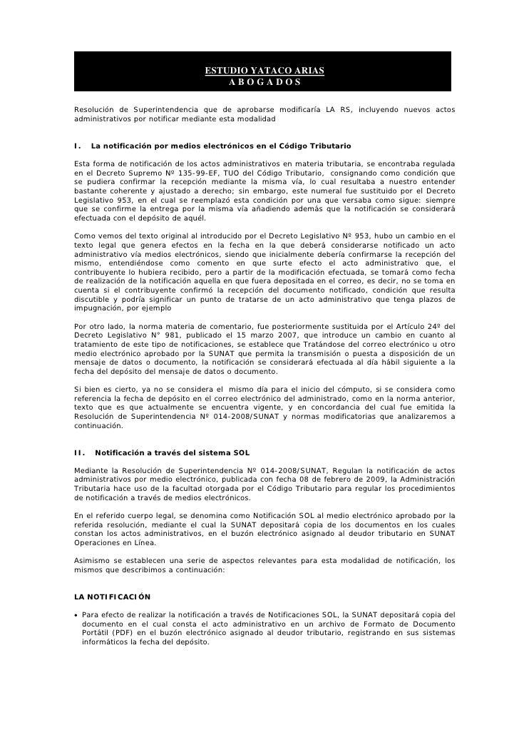 ESTUDIO YATACO ARIAS                                        ABOGADOS  Resolución de Superintendencia que de aprobarse modi...