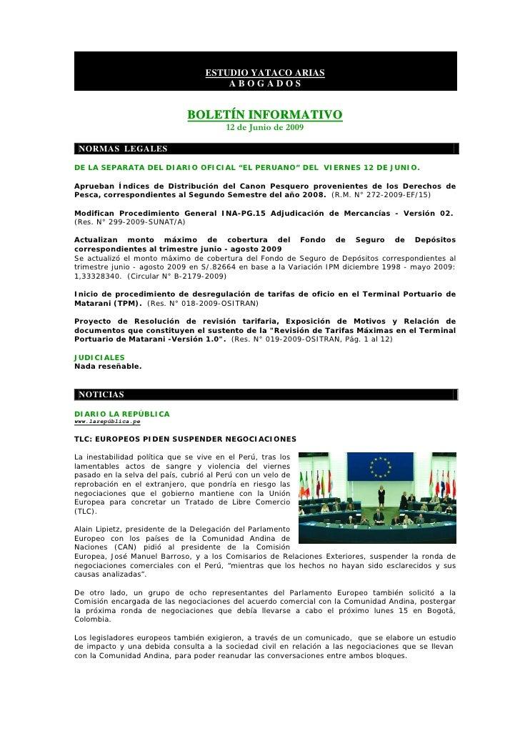 BoletíN Informativo   12 Junio 2009   Laboral Corporativo Slide 2
