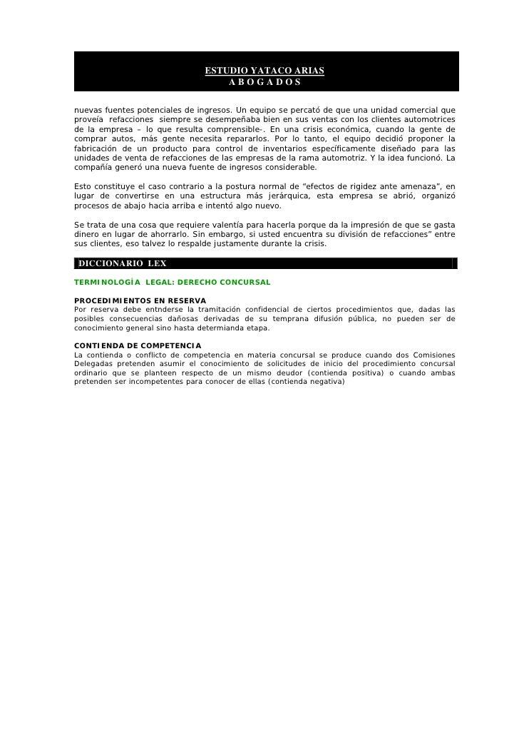 ESTUDIO YATACO ARIAS                                     ABOGADOS  nuevas fuentes potenciales de ingresos. Un equipo se pe...
