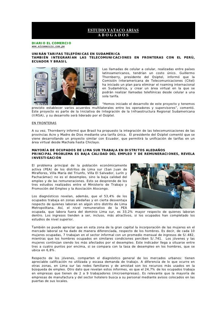 ESTUDIO YATACO ARIAS                                         ABOGADOS DIARIO EL COMERCIO www.elcomercio.com.pe  UNIRÁN TAR...