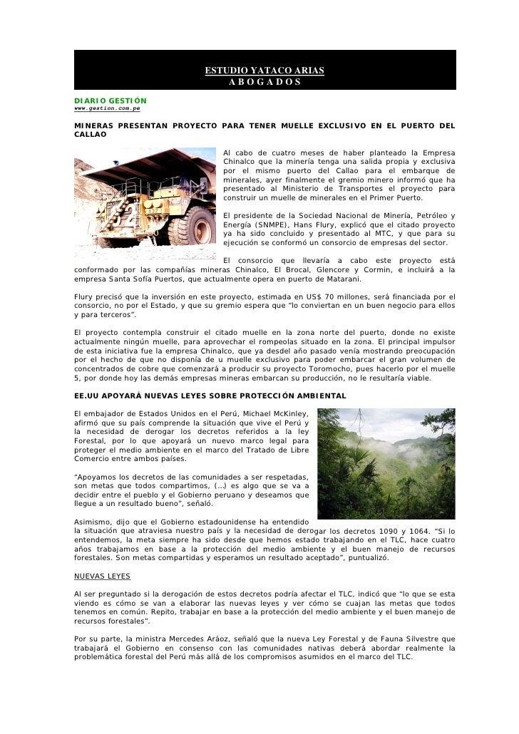ESTUDIO YATACO ARIAS                                        ABOGADOS DIARIO GESTIÓN www.gestion.com.pe  MINERAS PRESENTAN ...