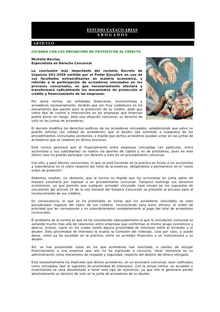 ESTUDIO YATACO ARIAS                                        ABOGADOS   ARTÍCULO  CUIDADO CON LOS MECANISMO DE PROTECCIÓN A...