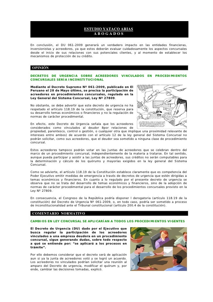 ESTUDIO YATACO ARIAS                                       ABOGADOS  En conclusión, el DU 061-2009 generará un verdadero i...