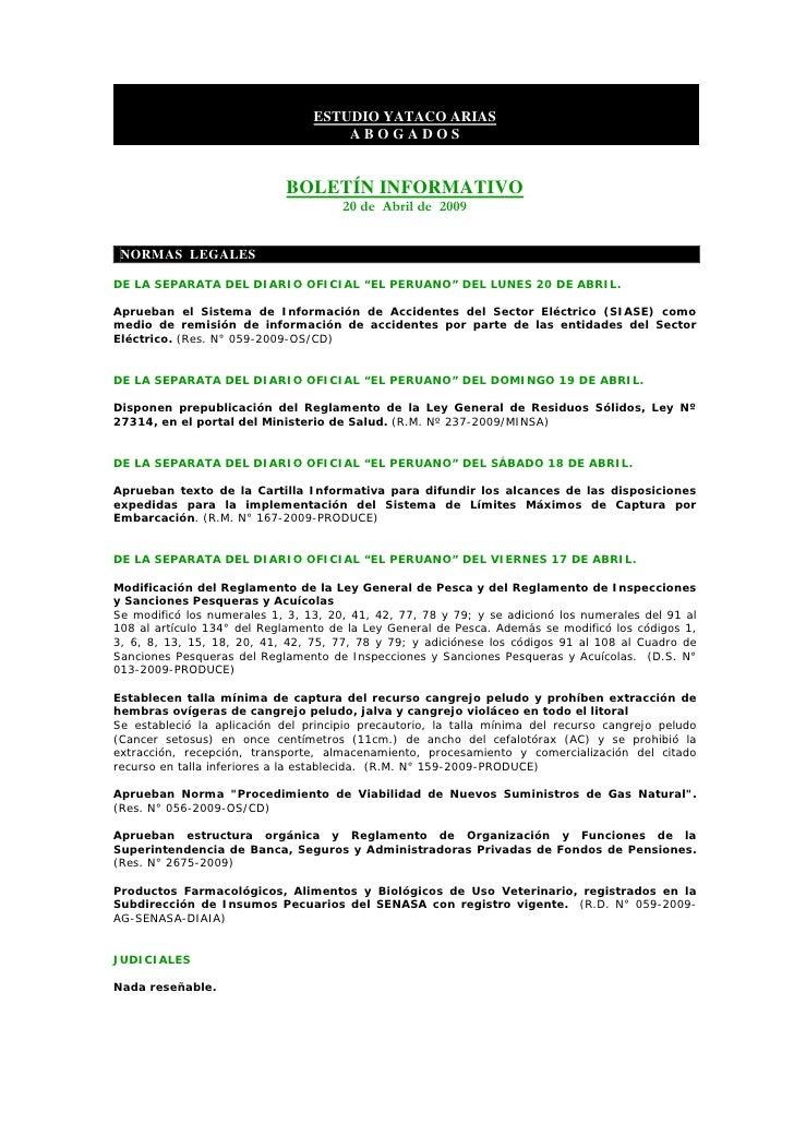 BoletíN Informativo   20 Abril 2009   Concursal ReestructuracióN E Insolvencia Empresarial Slide 2