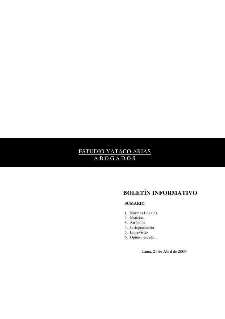 ESTUDIO YATACO ARIAS     ABOGADOS                 BOLETÍN INFORMATIVO             SUMARIO              1.   Normas Legales...