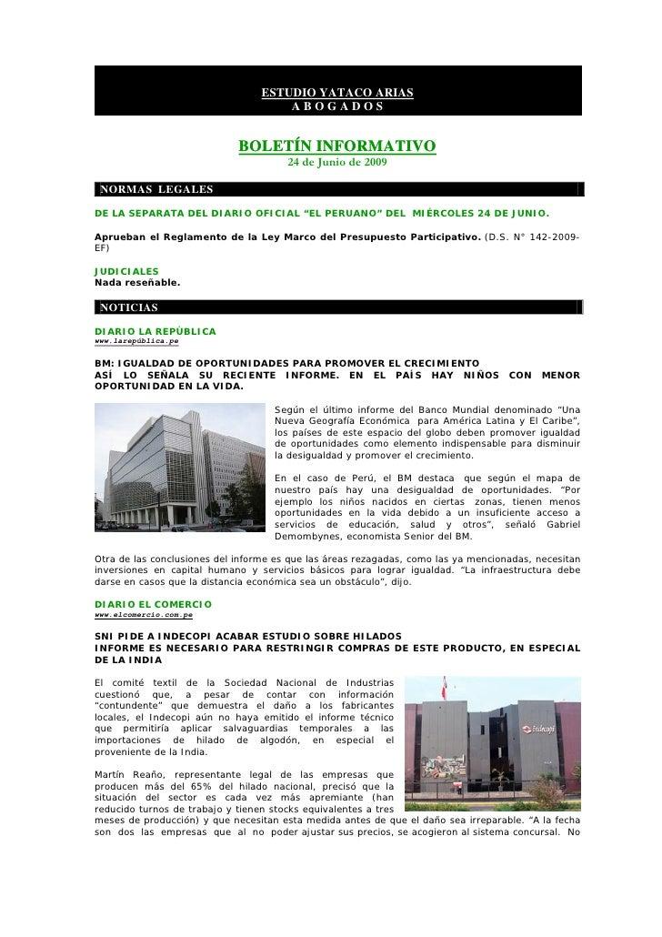 BoletíN Informativo   24 Junio 2009   Banca, Finanzas Y Mercado De Capitales Slide 2