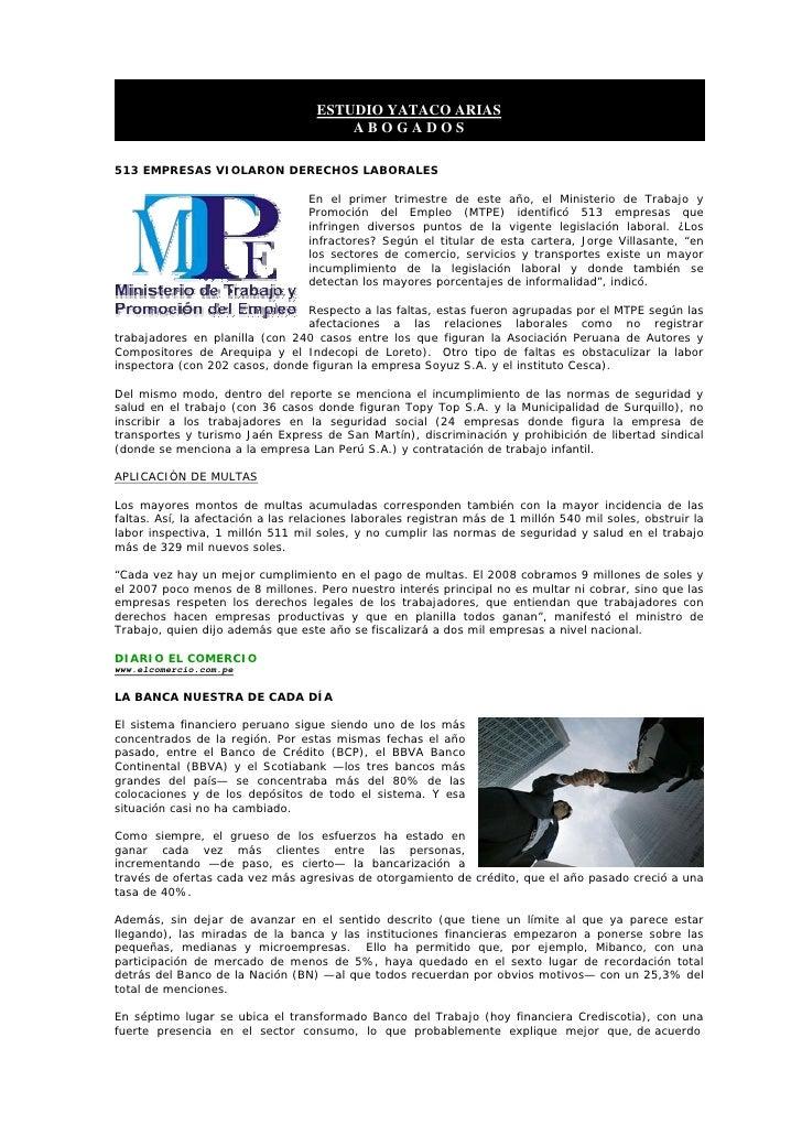 ESTUDIO YATACO ARIAS                                         ABOGADOS  513 EMPRESAS VIOLARON DERECHOS LABORALES           ...