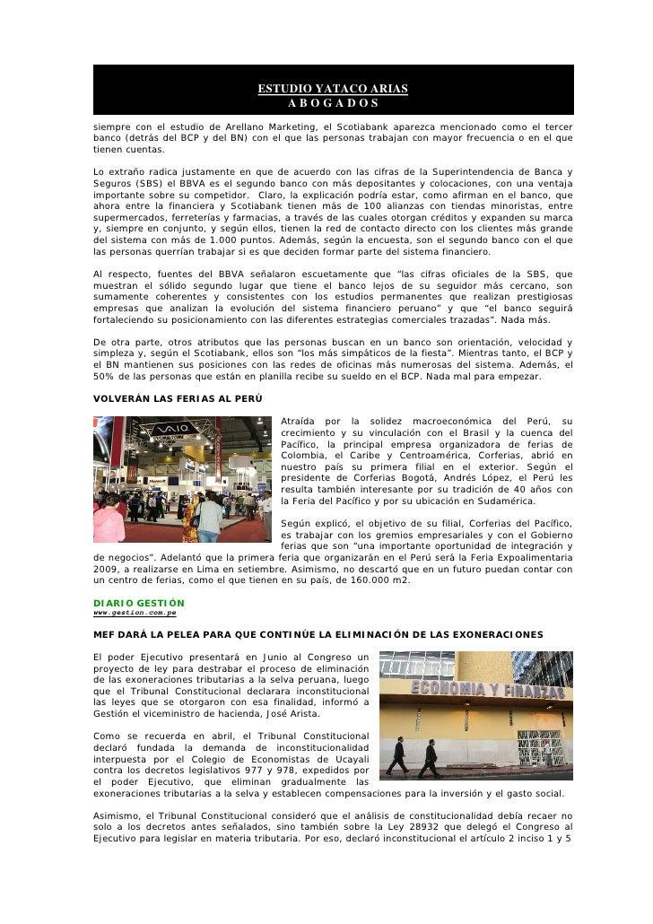 ESTUDIO YATACO ARIAS                                         ABOGADOS siempre con el estudio de Arellano Marketing, el Sco...