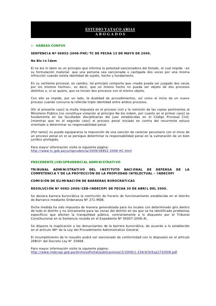 ESTUDIO YATACO ARIAS                                        ABOGADOS     HÁBEAS CORPUS  SENTENCIA Nº 06852-2008-PHC/TC DE ...