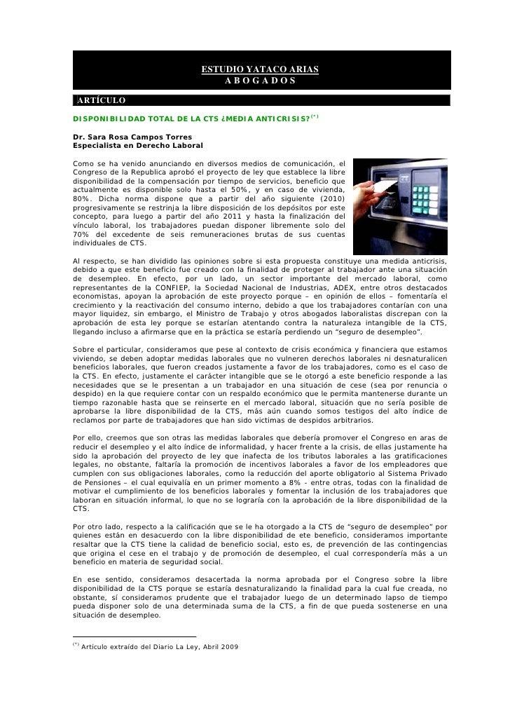 ESTUDIO YATACO ARIAS                                              ABOGADOS    ARTÍCULO  DISPONIBILIDAD TOTAL DE LA CTS ¿ME...