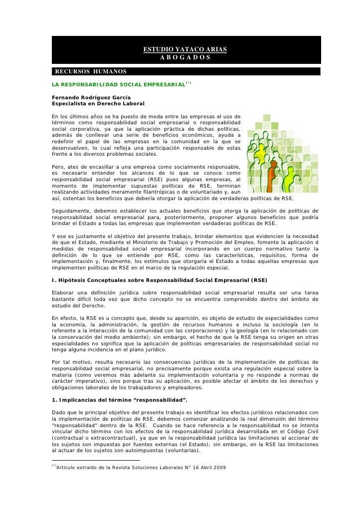 ESTUDIO YATACO ARIAS                                              ABOGADOS    RECURSOS HUMANOS  LA RESPONSABILIDAD SOCIAL ...