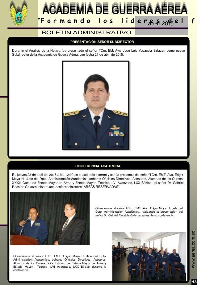 """Abril-2015 13 """"F o r m a n d o l o s l í d e r e s d e l f www.aerea.com.ec EL jueves 23 de abril del 2015 a las 12:00 en ..."""