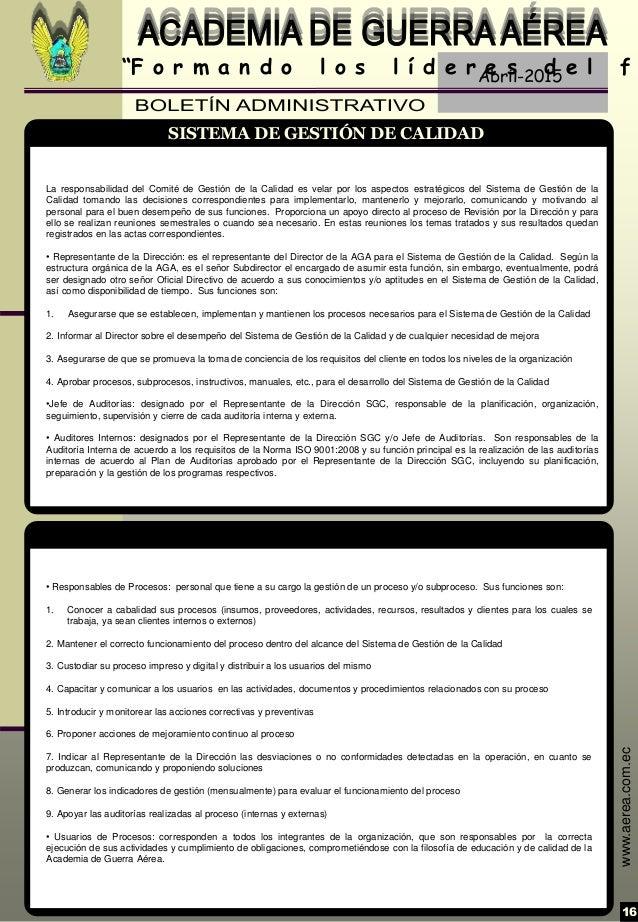 "Abril-2015 16 ""F o r m a n d o l o s l í d e r e s d e l f www.aerea.com.ec • Responsables de Procesos: personal que tiene..."