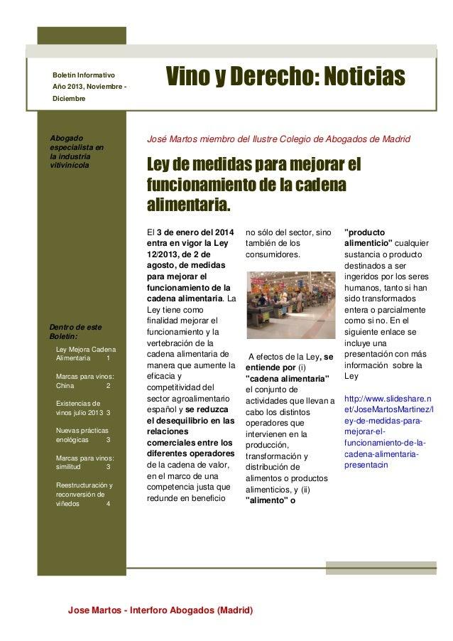 Boletín Informativo Año 2013, Noviembre -  Vino y Derecho: Noticias  Diciembre  Abogado especialista en la industria vitiv...