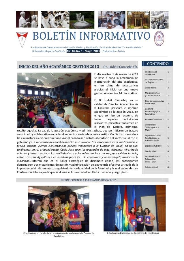 """BOLETÍN INFORMATIVOPublicación del Departamento de Educación Médica y Planificación Facultad de Medicina """"Dr. Aurelio Mele..."""