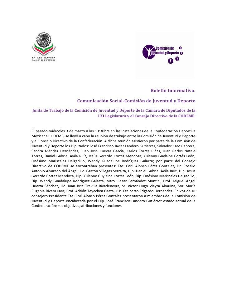 Boletín Informativo.                              Comunicación Social-Comisión de Juventud y Deporte Junta de Trabajo de l...