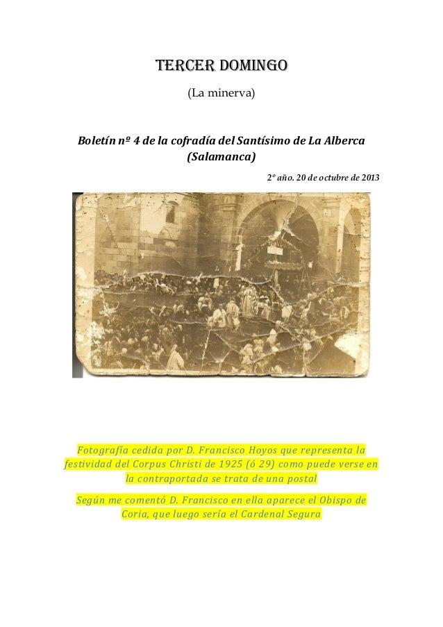 Tercer domingo (La minerva)  Boletín nº 4 de la cofradía del Santísimo de La Alberca (Salamanca) 2º año. 20 de octubre de ...