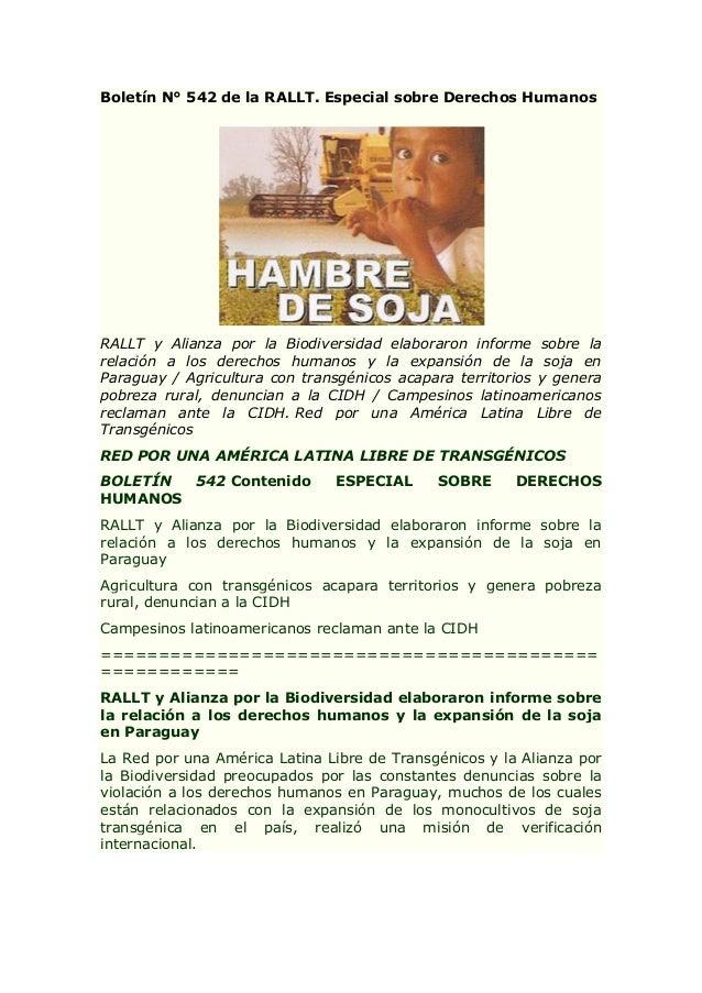 Boletín N° 542 de la RALLT. Especial sobre Derechos Humanos  RALLT y Alianza por la Biodiversidad elaboraron informe sobre...