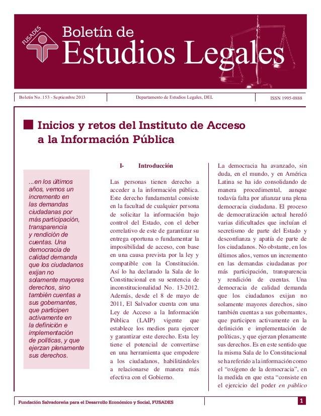 Boletín No. 153 - Septiembre 2013  Inicios y retos del Instituto de Acceso a la Información Pública I- ...en los últimos ...