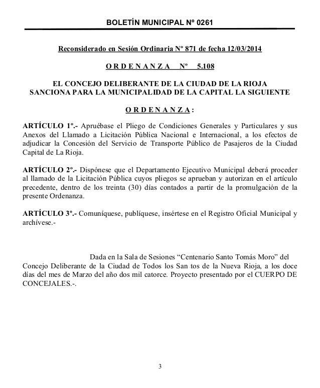 BOLETÍN MUNICIPAL Nº 0261 Reconsiderado en Sesión Ordinaria Nº 871 de fecha 12/03/2014 O R D E N A N Z A Nº 5.108 EL CONCE...
