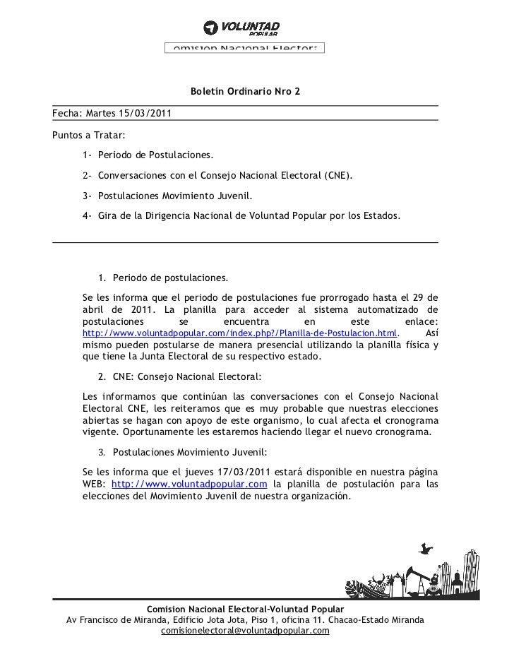 Boletín Ordinario Nro 2Fecha: Martes 15/03/2011Puntos a Tratar:      1- Periodo de Postulaciones.      2- Conversaciones c...