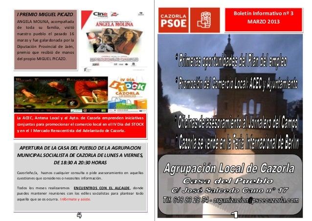 I PREMIO MIGUEL PICAZO.                                                   Boletín Informativo nº 3ANGELA MOLINA, acompañad...