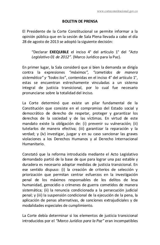 www.corteconstitucional.gov.co BOLETIN DE PRENSA El Presidente de la Corte Constitucional se permite informar a la opinión...