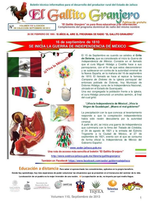 """Publicación gratuita Volumen 110, Septiembre de 2013 1 """"El Gallito Granjero"""" es para fines educativos y de información.VOL..."""