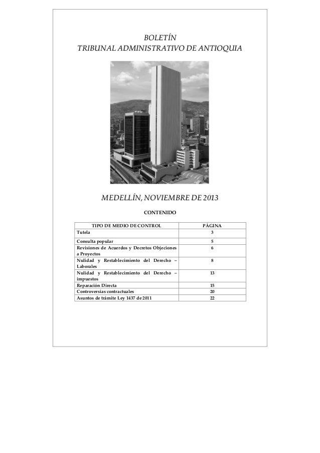 BBOOLLEETTÍÍNN  TTRRIIBBUUNNAALL AADDMMIINNIISSTTRRAATTIIVVOO DDEE AANNTTIIOOQQUUIIAA  MMEEDDEELLLLÍÍNN,, NNOOVVIIEEMMBBRR...