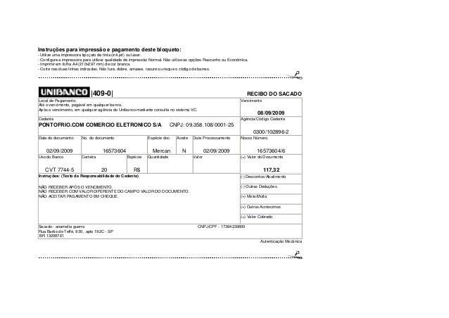 Instruções para impressão e pagamento deste bloqueto: - Utilize uma impressora tipo jato de tinta (ink jet) ou laser. - Co...