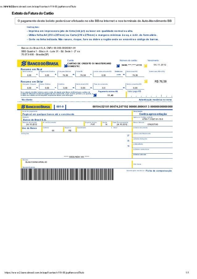 ps://w w w 2.bancobrasil.com.br/aapf/cartao/v119-00.jsp#ancoraTitulo     01/11/12          Extrato da Fatura do Cartão    ...
