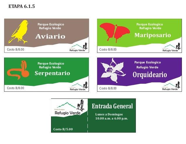 ETAPA 6.1.5  Parque Ecologico Refugio Verde  Parque Ecologico Refugio Verde  Mariposario  Aviario Costo B/8.00  Costo B/8....