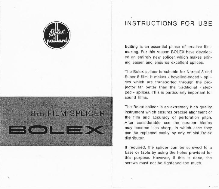 Bolex 8mm film splicer user manual_english