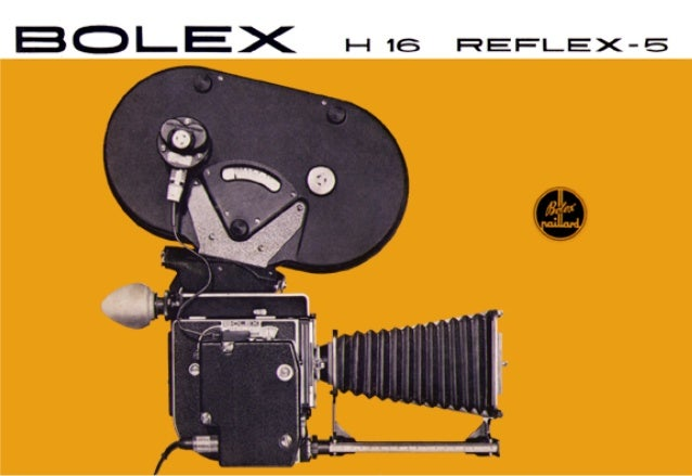 The BOLEX H 16 Reflex-5 is basically a standard H 16 Reflex camera, but modified to accept a 400 ft interchangeable magazi...