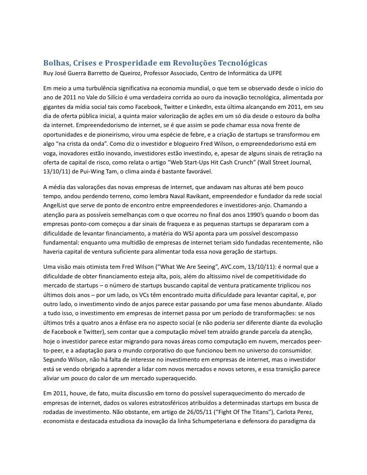 Bolhas, crises e prosperidade em revoluções tecnológicas
