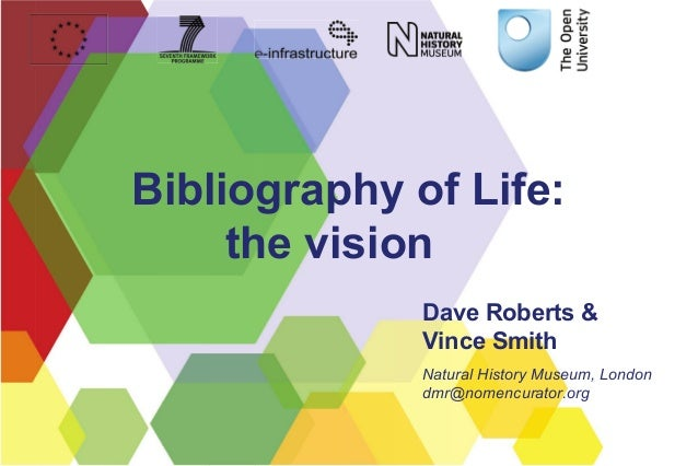 Bibliography of Life: the vision Dave Roberts & Vince Smith Natural History Museum, London dmr@nomencurator.org