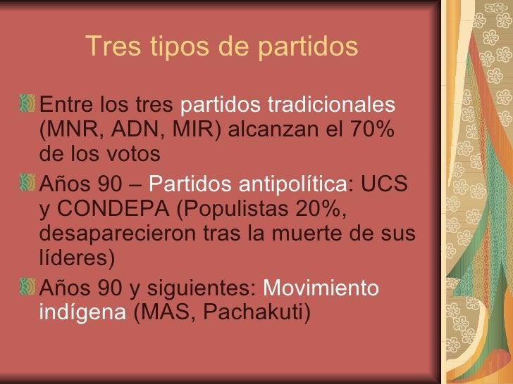 Tres tipos de partidos <ul><li>Entre los tres  partidos tradicionales  (MNR, ADN, MIR) alcanzan el 70% de los votos </li><...