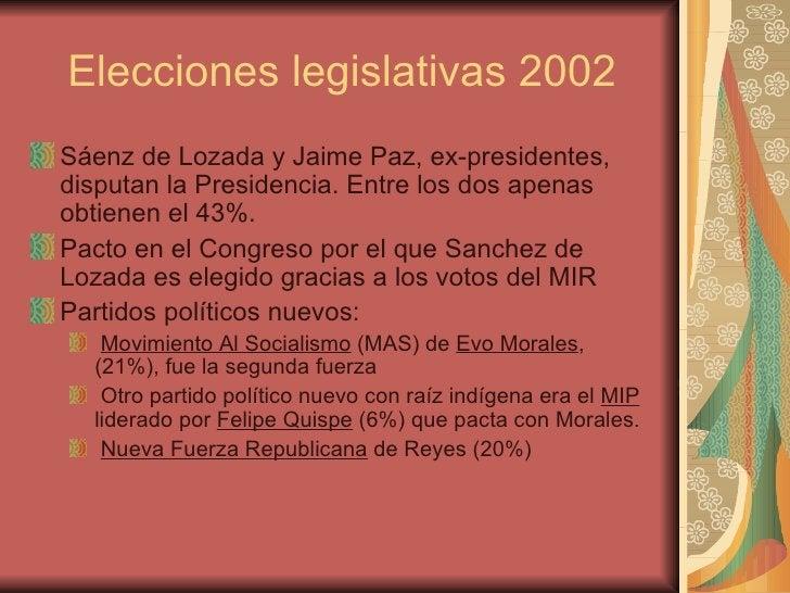 Elecciones legislativas 2002 <ul><li>Sáenz de Lozada y Jaime Paz, ex-presidentes, disputan la Presidencia. Entre los dos a...