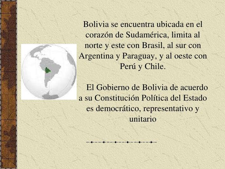 Bolivia se encuentra ubicada en el corazón de Sudamérica, limita al norte y este con Brasil, al sur con Argentina y Paragu...