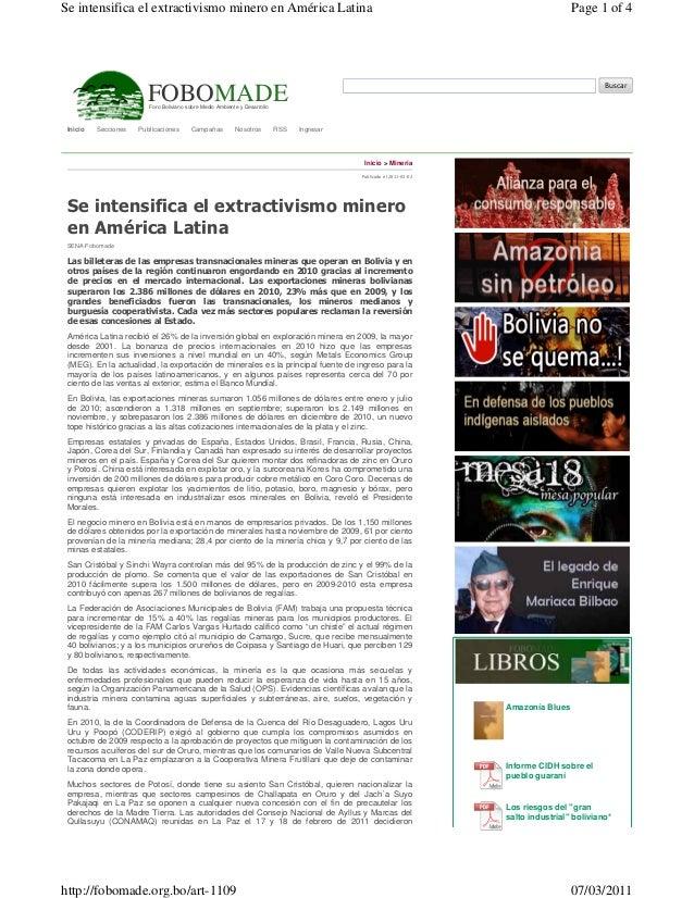 Se intensifica el extractivismo minero en América Latina                                                                  ...