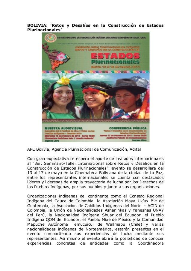 BOLIVIA: 'Retos y Desafíos en la Construcción de EstadosPlurinacionales'APC Bolivia, Agencia Plurinacional de Comunicación...