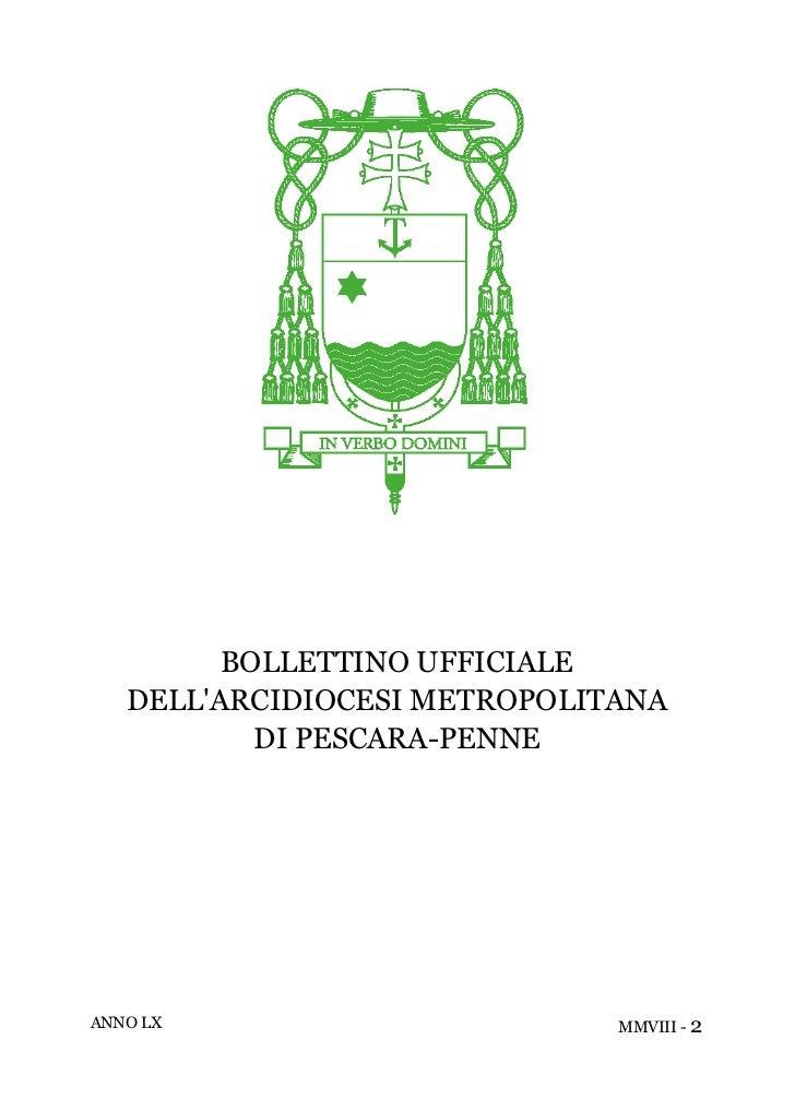 BOLLETTINO UFFICIALE   DELLARCIDIOCESI METROPOLITANA           DI PESCARA-PENNEANNO LX                       MMVIII - 2