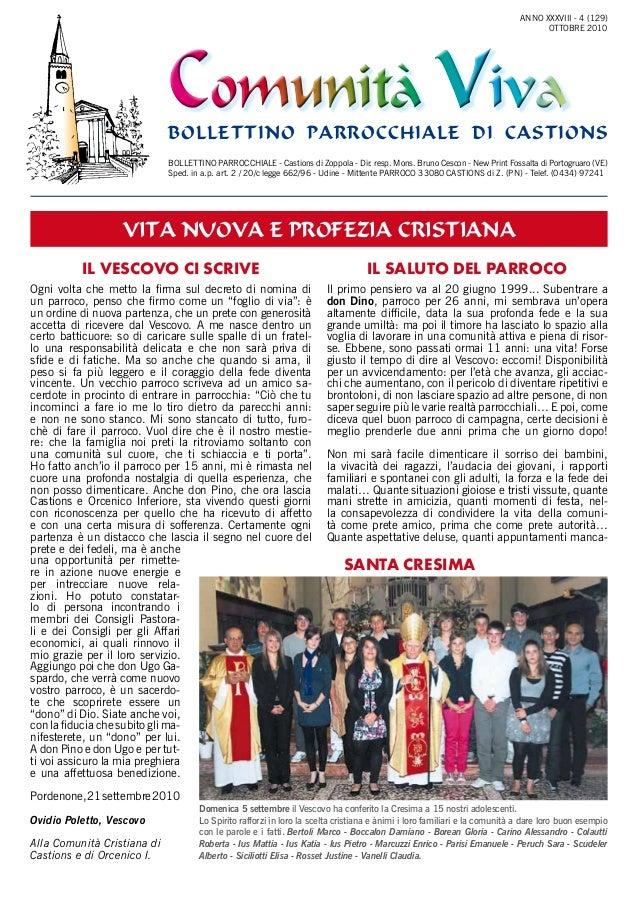 Comunità VivaComunità Viva bollettino parrocchiale di castions Il Vescovo ci scrive IL SALUTO DEL PARROCO BOLLETTINO PARRO...